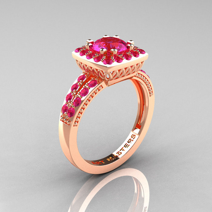 Pink Sapphire Engagement Ring UK: peach pink sapphire engagement ring color