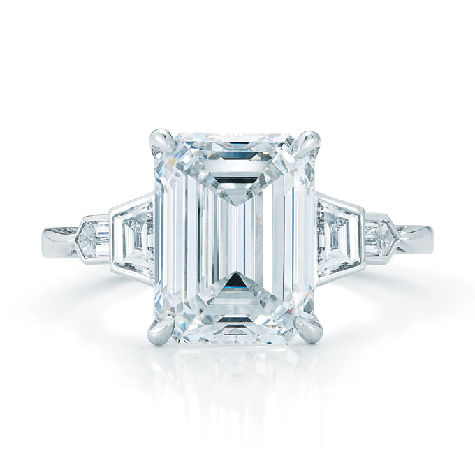 Emerald Cut Engagement Ring Meaning: pearl emerald cut engagement ring style