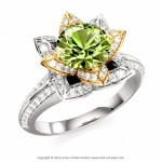 rose peridot engagement rings flower