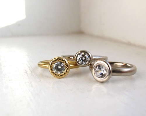 Round Etsy Engagement Rings Gold