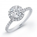 round pave engagement rings halo