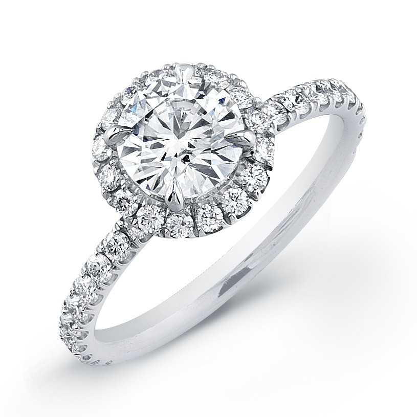 Pave Engagement Rings Meaning: round pave engagement rings halo