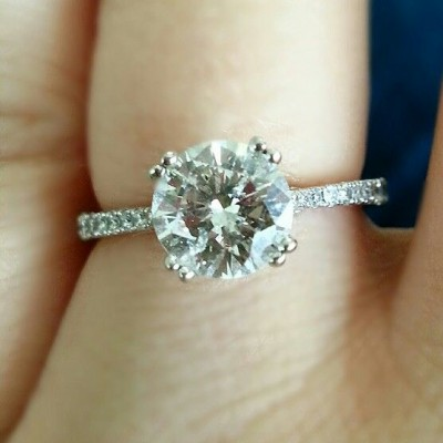 Round Thin Band Engagement Ring Cut