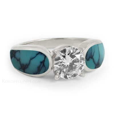 Round Turquoise Engagement Rings Small