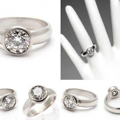 Set Bezel Engagement Ring Unqiue