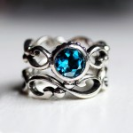 set blue topaz engagement rings bezel