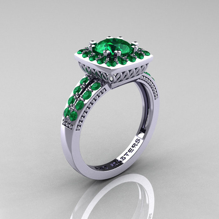 Emerald White Gold Jewelry Engagement Rings Jewellery
