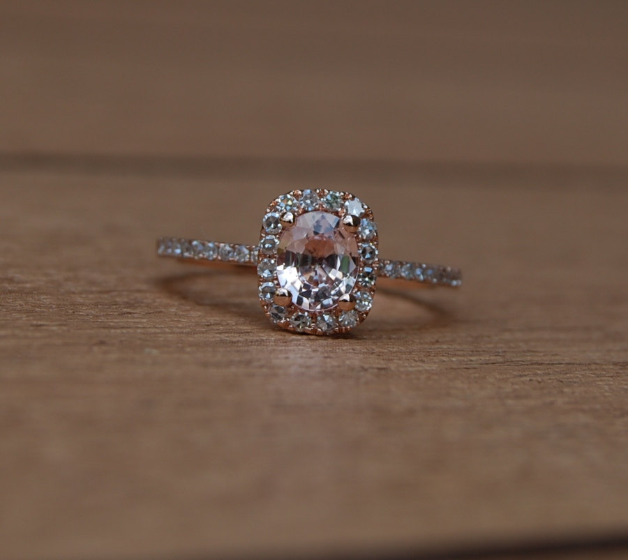 Peach Sapphire Engagement Rings Uk: small peach sapphire engagement rings design