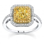square canary diamond engagement rings design
