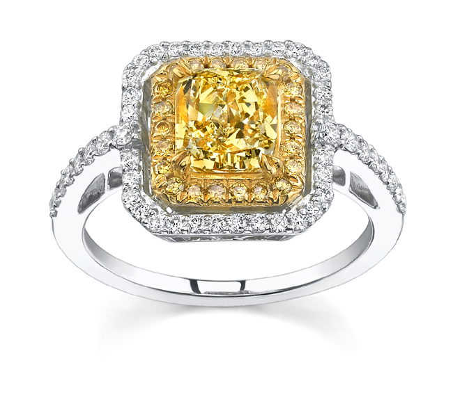 Canary Diamond Engagement Rings Uk: square canary diamond engagement rings design
