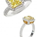 square colored engagement rings yellow
