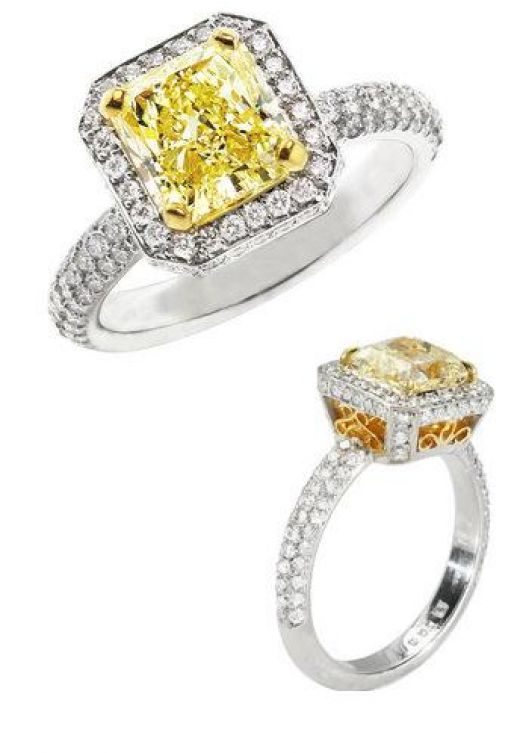 Colored Engagement Rings Trend: square colored engagement rings yellow