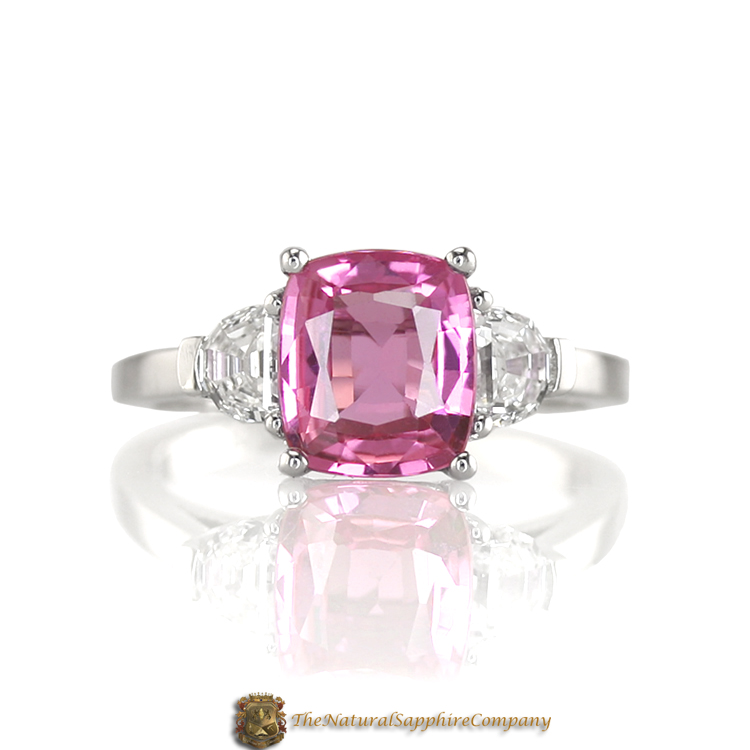 Pink Sapphire Engagement Ring UK: square pink sapphire engagement ring cut