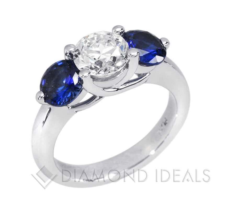 Diamond and Sapphire Engagement Rings Ebay: three diamond and sapphire engagement rings stones