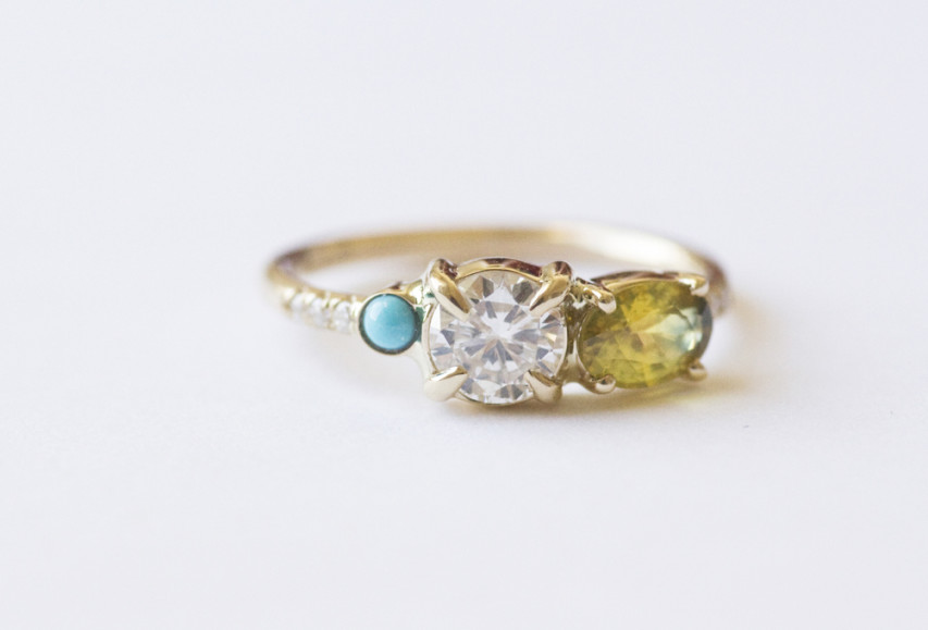 Turquoise Engagement Rings UK: three turquoise engagement rings stones