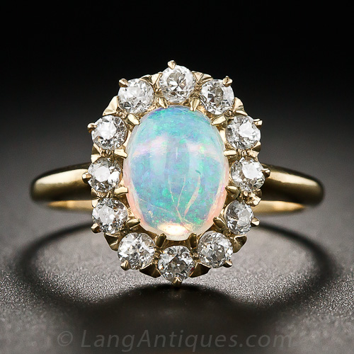 Opal Engagement Ring Set: vintage opal engagement ring style