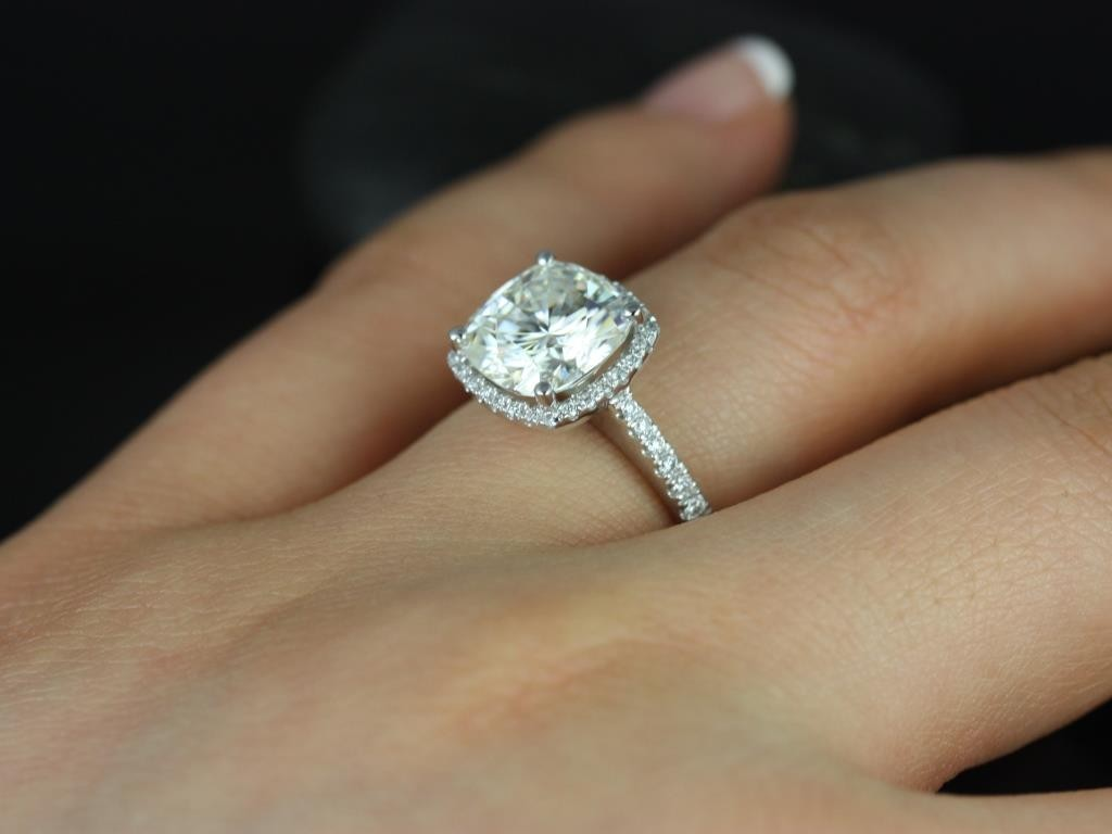 ring cushion cluster cut engagement diamond rings gold white vintage