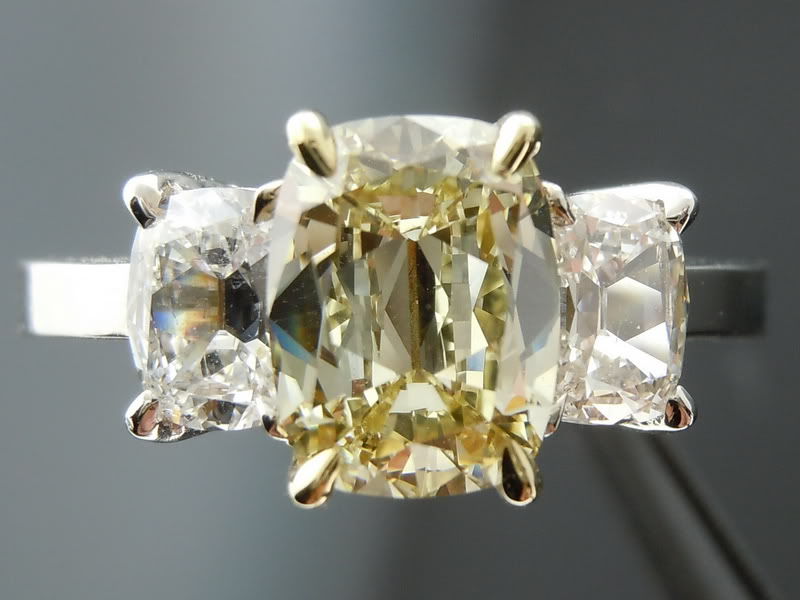 Amazing Cushion Cut Diamond Engagement Rings UK: cute-diamond-engagement-rigns-with-3 stones-designs-diamond-and-yellow-crystal-in-deep-diamond